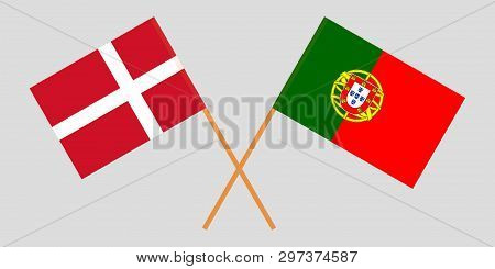 Portugal And Denmark. The Portuguese And Danish Flags. Official Colors. Correct Proportion. Vector I