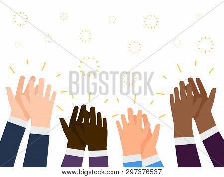 Applause Flat Illustration. International People Hands Clapping Vector Concept. Applause Gesture, Pe