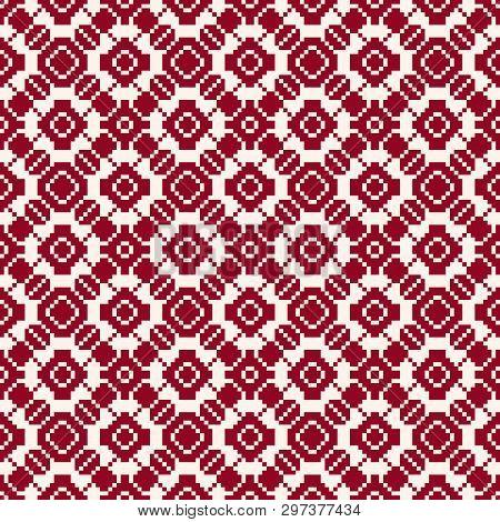 Geometric Traditional Folk Ornament. Fair Isle Seamless Pattern. Winter Holiday Theme Texture. Elega