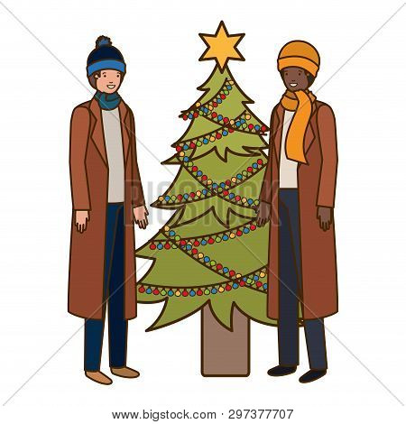 Men With Christmas Tree Avatar Character Vector Illustration Desing