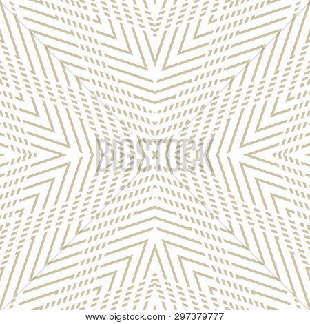 Golden Vector Geometric Seamless Pattern. Luxury Linear Background With Stripes, Concentric Shapes,