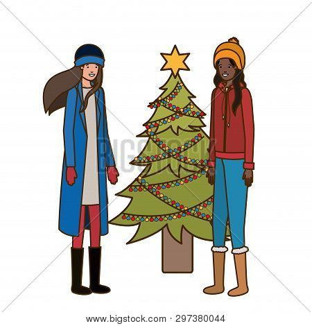 Women With Christmas Tree Avatar Character Vector Illustration Desing