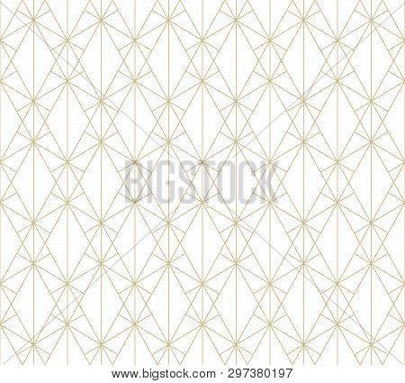 Gold Pattern. Vector Geometric Lines Seamless Texture. Golden Ornament With Delicate Grid, Lattice,