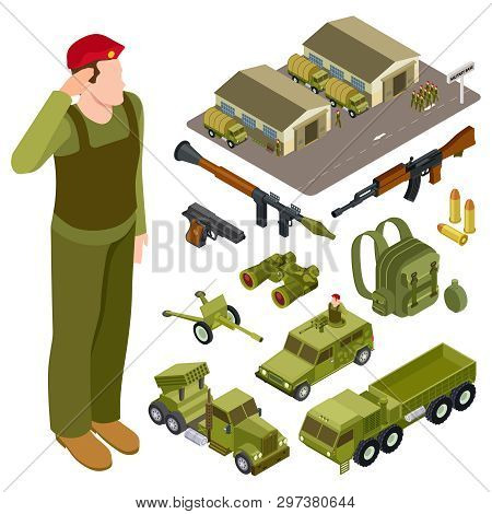 Armor Weapon Collection And Accessorises. Soldier, Military Base, Volley Fire System And Infantry Fi
