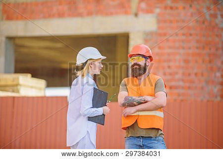 Construction Project Inspecting. Safety Inspector Concept. Construction Site Safety Inspection. Disc