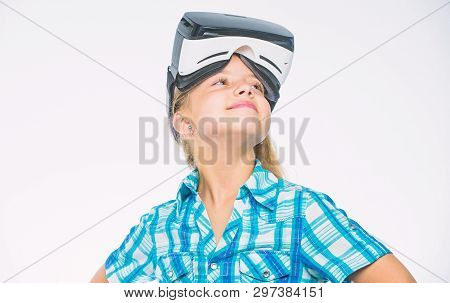 Virtual Reality Is Fun For All Ages. Kid Girl With Vr Glasses. Child Play Virtual Games With Modern
