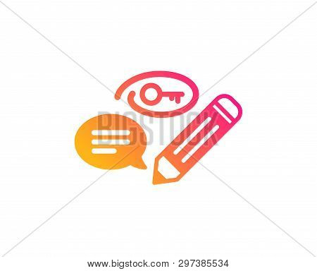 Keywords Icon. Pencil With Key Symbol. Marketing Strategy Sign. Classic Flat Style. Gradient Keyword