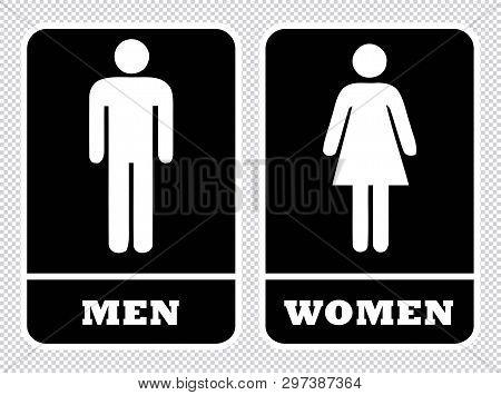 Men And Women Wash Room Sign. Men Washroom Sign And Women Washroom Sign In Transparent Background Dr