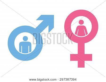 Man And Woman Sign.gender Icon.gender Icon Drawing By Illustration. Man Icon And Woman Icon