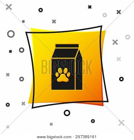 Black Bag Of Food For Pet Icon Isolated On White Background. Food For Animals. Pet Food Package. Dog