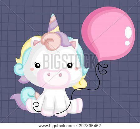 A Vector Of A Cute Unicorn Holding A Balloon