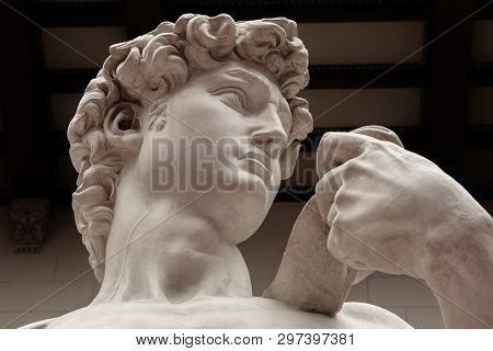 Replica of David statue of Michelangelo in Florence, Italy. Architecture and landmark of Florence. Postcard of Florence