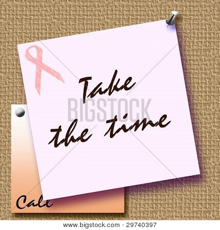 pink ribbon reminder note tacked to bulletin board illustration poster