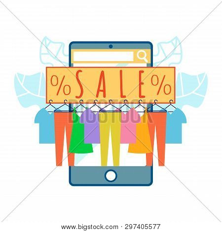 Clothing Shop Sale In App Vector Illustration. Cheap Clothes Hanging On Rack. Jeans, T-shirt On Hang