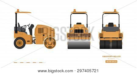Vibratory Roller In Realistic Style. Side, Back And Front View. Building Machinery 3d Image. Industr