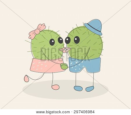 Funny Simple Naive Cute Cactus Kissing Pair:girl With Pink Bow And Boy With Blue Hat.for Decoration