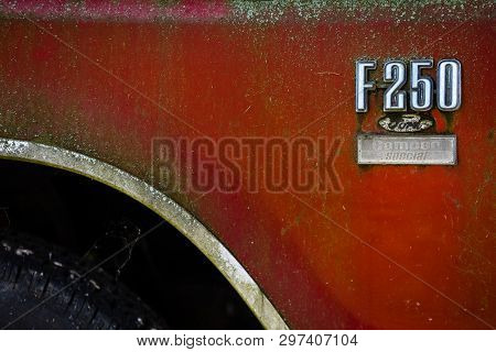 Berlin - May 05, 2018: The Emblem Of Full-size Pickup Truck Ford F-250. Close-up.