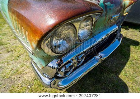 Berlin - May 05, 2018: Headlamp Of The Full-size Car Chevrolet Bel Air (third Generation).