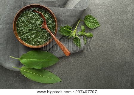 Spring Healthy Food. Nettle And Wild Garlic Soup On Gray Background