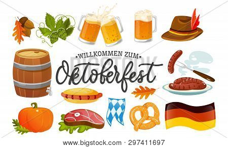 Oktoberfest Food And Symbols Collection. Vector Oktoberfest Objects And Icons With Lettering Inscrip