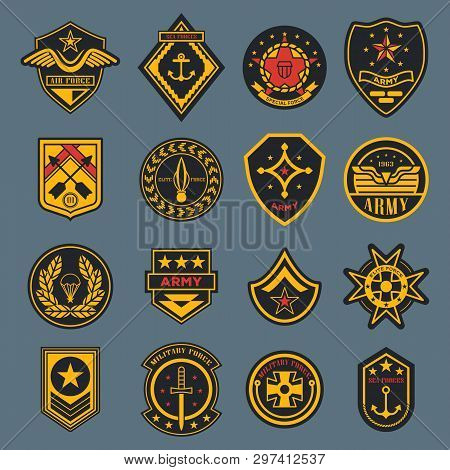 Set Of Isolated Army Badges Or American Military Labels, Soldier Sign. Navy Rank Or Air Force Tag. C