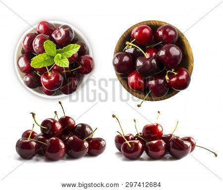 Fresh Red Cherries Isolated On White Background. Cherry Fruit With Copy Space For Text. Ripe Cherry