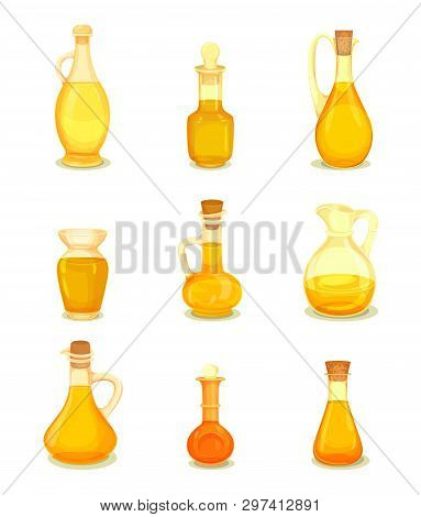Set Of Isolated Oil In Bottle. Closeup Of Jar With Grape, Avocado Seed, Argan, Apricot, Mustard, Avo