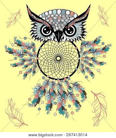 Boho Style Colored Owl With Tribal Arrows. Illustration. Bohemian Tribal Owl With A Dream Catcher. T