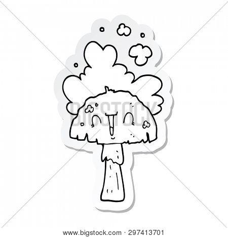 sticker of a cartoon mushroom with spoor cloud