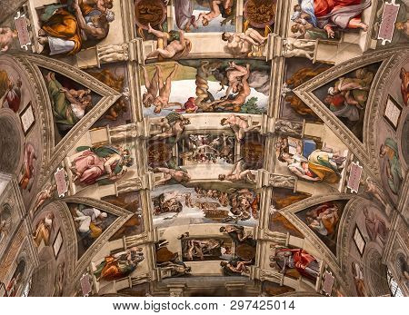 Interiors And Details Of The Sistine Chapel, Vatican City