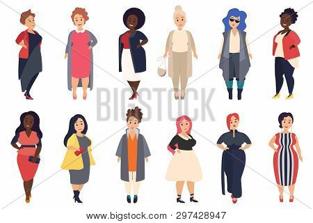Vector Beautiful And Stylish Plus Size, Curvy Fat Women In Fashionable Casual Clothes Set Isolated.
