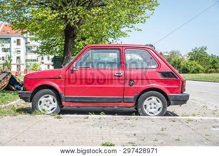 Novi Sad, Serbia. April - 24. 2019. Small Old Timer Polski Fiat 126 Car Or Zastava Produced From 197