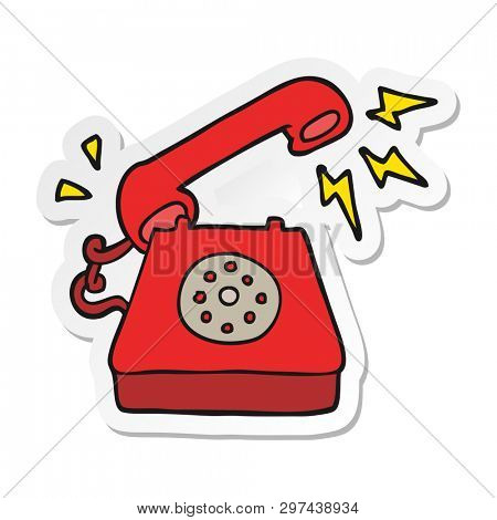 sticker of a cartoon ringing telephone