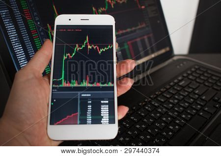 Cross-platform Services For Investments In Cryptocurrency. The User Monitors The Securities Market O
