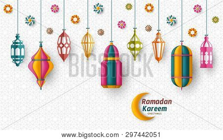 Ramadan Kareem Background. Islamic Arabic Lantern. Translation Ramadan Kareem. Greeting Card