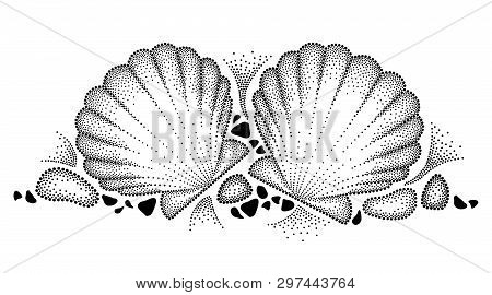 Vector Drawing With Dotted Sea Shell Or Scallop And Pebbles In Black Isolated On White Background. H