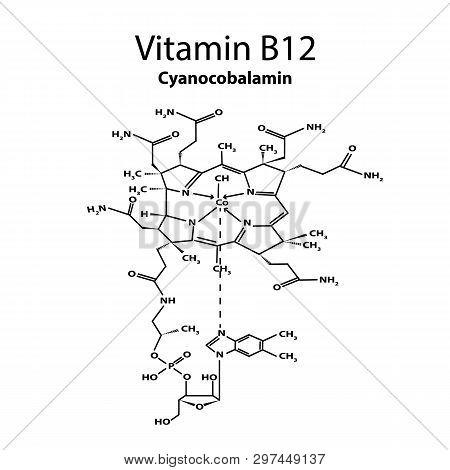 Vitamin B12. Cyanocobalamin Molecular Chemical Formula. Infographics. Vector Illustration On Isolate
