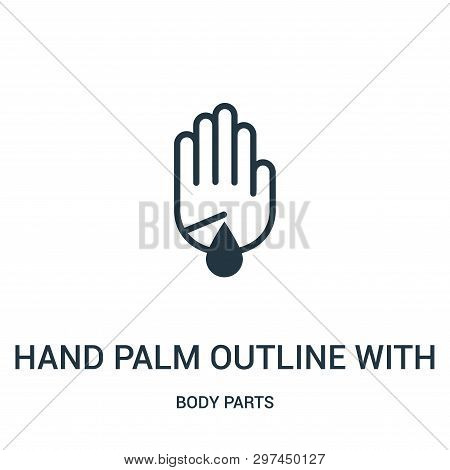 Hand Palm Outline With Scratch Wound With Blood Droplet Icon Isolated On White Background From Body