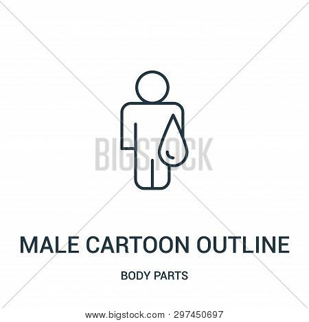 Male Cartoon Outline With Liquid Droplet Icon Isolated On White Background From Body Parts Collectio