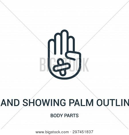 Hand Showing Palm Outline With Band Aid Icon Isolated On White Background From Body Parts Collection