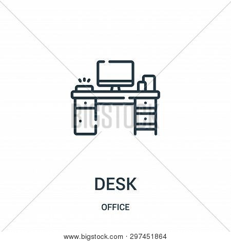 Desk Icon Isolated On White Background From Office Collection. Desk Icon Trendy And Modern Desk Symb