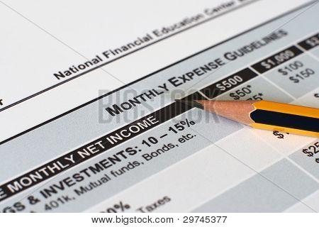 Měsíční plán výdajů