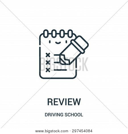 Review Icon Isolated On White Background From Driving School Collection. Review Icon Trendy And Mode