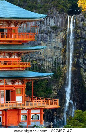 Seiganto-ji pagoda and Nachi falls at Nachi Taisha Unesco world heritage, Japan