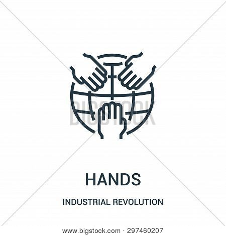 Hands Icon Isolated On White Background From Industrial Revolution Collection. Hands Icon Trendy And