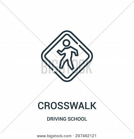 Crosswalk Icon Isolated On White Background From Driving School Collection. Crosswalk Icon Trendy An