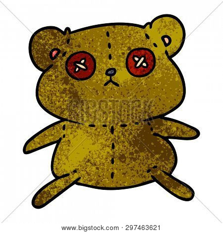freehand drawn textured cartoon of a cute stiched up teddy bear