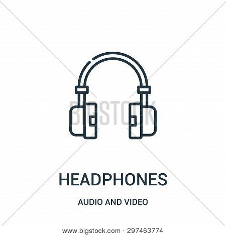 Headphones Icon Isolated On White Background From Audio And Video Collection. Headphones Icon Trendy