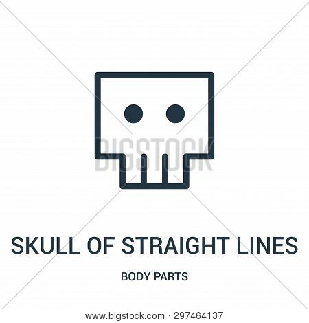 Skull Of Straight Lines Icon Isolated On White Background From Body Parts Collection. Skull Of Strai