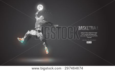 Abstract Silhouette Of A Basketball Player On Dark Black Background From Clouds, Dust, Smoke, Steam.